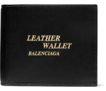 Printed Textured-leather Billfold Wallet