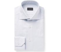 Light-grey Cutaway-collar Checked Cotton Shirt