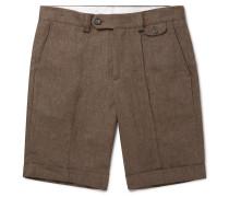 Linen Bermuda Shorts - Brown
