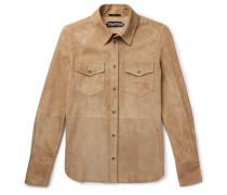 Suede Shirt Jacket - Tan