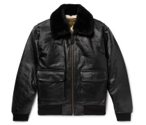 G-1 Shearling-Trimmed Leather Bomber Jacket
