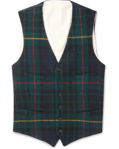 Slim-fit Checked Wool Waistcoat - Navy