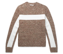 Panelled Donegal Wool, Alpaca And Silk-blend Sweater - Brown