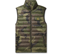 Camouflage-print Quilted Shell Down Gilet - Army green