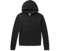 Bolo Tie Leather-trimmed Loopback Cotton-jersey Hoodie - Black