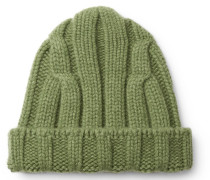 Ribbed Merino Wool And Cashmere-blend Beanie - Green