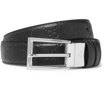 3cm Black Reversible Logo-embossed Leather Belt