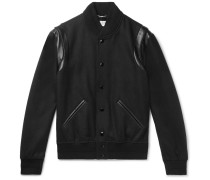 Teddy Leather-trimmed Wool Bomber Jacket - Black