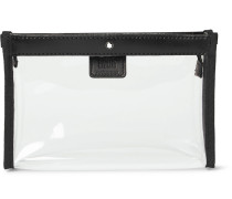 Leather-trimmed Transparent Flight Bag