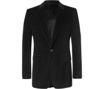 Black Slim-fit Cotton-velvet Blazer - Black