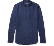 Slim-fit Grandad-collar Basketweave Cotton Shirt