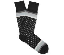 Polka-dot And Striped Stretch Cotton-blend Socks