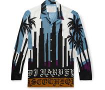 + DJ Harvey Camp-Collar Printed Matte-Satin Shirt