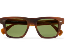 + Oliver Peoples Galleria Square-frame Silver-tone And Acetate Polarised Sunglasses - Brown