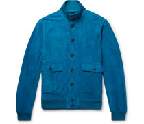 Valstarino Slim-fit Unlined Suede Bomber Jacket - Cobalt blue