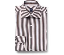 Brown Slim-Fit Striped Cotton-Poplin Shirt
