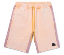 Acid-Washed Striped Loopback Cotton-Jersey Drawstring Shorts