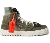 Off-court Leather And Suede High-top Sneakers - Army green