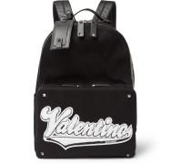 Valentino Garavani Rookie Leather-trimmed Appliquéd Canvas Backpack