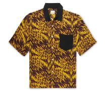 Camp-collar Printed Woven Shirt - Yellow