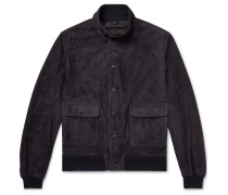 Valstarino Slim-fit Unlined Suede Bomber Jacket - Storm blue