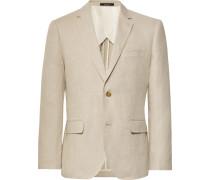 Beige Slim-fit Grant Linen Suit Jacket