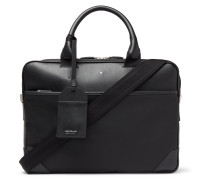 Sartorial Jet Nylon-panelled Cross-grain Leather Briefcase