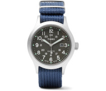 Allied Stainless Steel And Nylon-webbing Watch - Navy