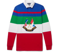 Appliquéd Striped Cotton-jersey Polo Shirt