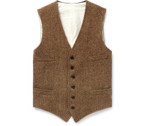 Tan Herringbone Wool And Satin Waistcoat - Brown