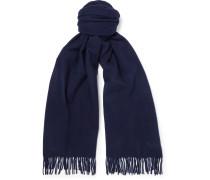 Fringed Wool Scarf - Midnight blue
