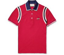 Appliquéd Striped Cotton-blend Piqué Polo Shirt