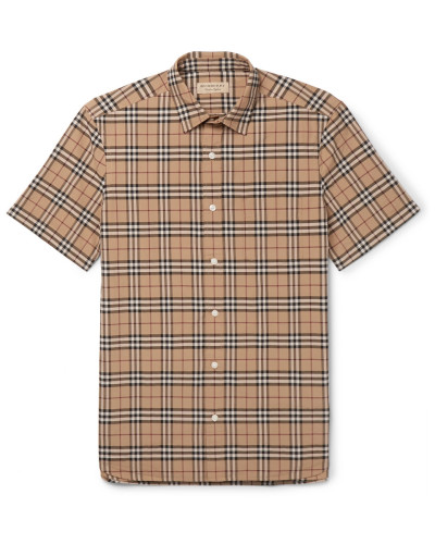 Checked Cotton-poplin Shirt - Camel