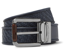 3.5cm Blue Reversible Pelletessuta Leather Belt - Blue