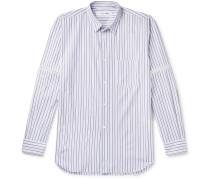 Zip-Trimmed Striped Cotton Shirt