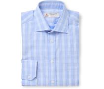 Light-Blue Checked Cotton-Poplin Shirt