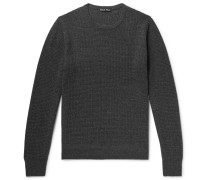 Waffle-knit Merino Wool And Cashmere-blend Sweater - Charcoal