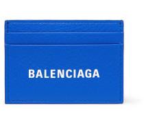 Logo-print Full-grain Leather Cardholder - Blue