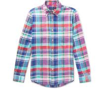 Slim-fit Button-down Collar Checked Linen Shirt