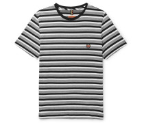 Striped Cotton-jersey T-shirt - Gray