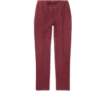 Miami Slim-Fit Pleated Mélange Linen Drawstring Trousers