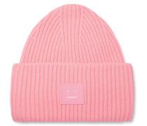 Logo-appliquéd Ribbed Wool Beanie - Pink