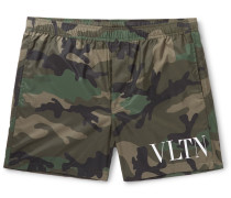 Mid-length Printed Swim Shorts - Green