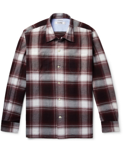 Camp-collar Checked Cotton-flannel Shirt - Burgundy