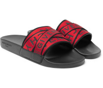 Logo-jacquard Webbing, Leather And Rubber Slides - Red