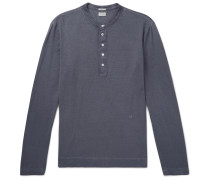 Garment-Dyed Cotton and Cashmere-Blend Henley T-Shirt