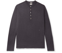 Watercolour-Dyed Cotton and Cashmere-Blend Henley T-Shirt