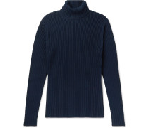 Ribbed Cotton-Blend Rollneck Sweater