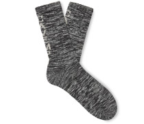 Logo-Intarsia Mélange Cotton-Blend Socks