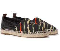 + Paula`s Ibiza Leather And Printed Canvas Espadrilles